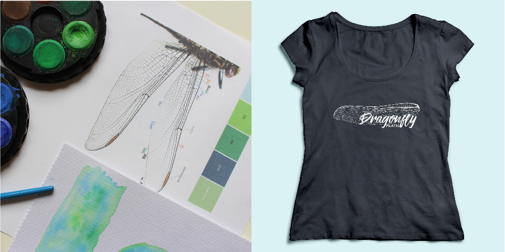 Dragonfly Pilates Logo Development and Shirt Design